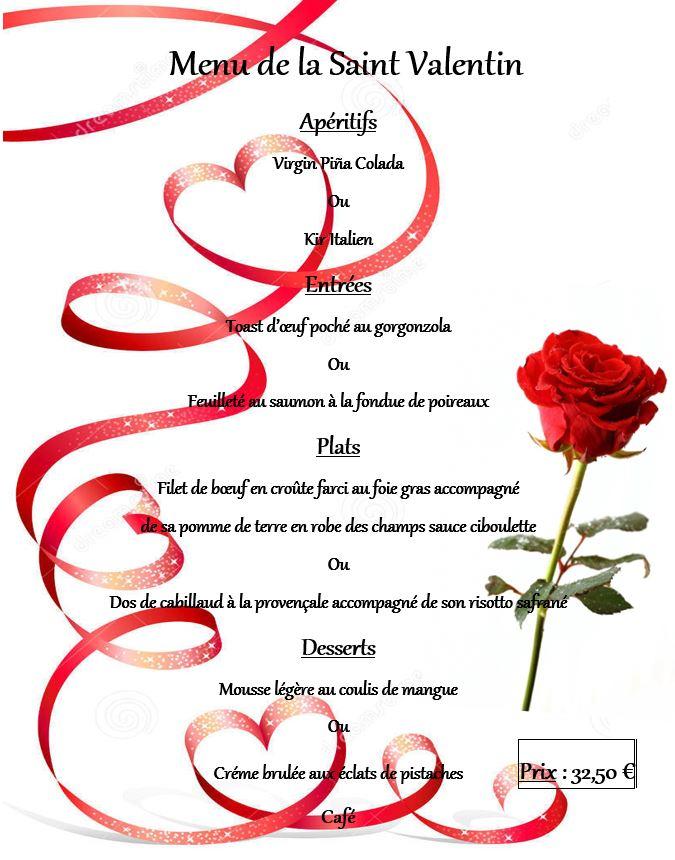 Menu Saint-Valentin Vendredi 14 Février 2020